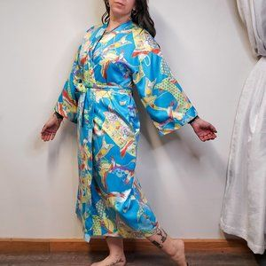 CRUZ by NATORI Crane Print Kimono Robe
